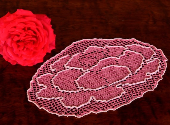 Rose In Bloom - Handmade Filet Crochet Lace Oval in Wild Rose Pink with Light Pink Edging - Colorful Shabby Chic Decor
