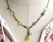 Colorful boho gemstone necklace,charm necklace,beaded necklace.boho jewelry. Tiedupmemories