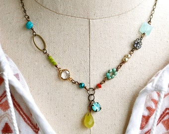 Colorful boho gemstone necklace,charm necklace,beaded necklace.boho jewelry. Tiedupmemories