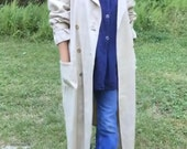Perfect Vintage Raw Silk Trench Duster Coat M/L