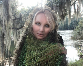 Green Wedding Cape Lace and Fur Shoulder Wrap Shawl Moss Green for Renaissance Fair Ren Faire Fantasy Clothing