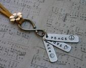 Peace Love Trey Phish hippie necklace Anastasio hand-stamped aluminum