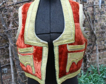 Vintage Ottoman Gypsy Bohemian Afghan velvet and gold brocade vest mirrored large 60s 70s hippie