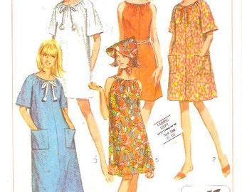 60s Summer dress robe hat Mod Hipster Loungewear Vintage sewing pattern Simplicity 7138 Medium Bust 34 to 36 UNCUT