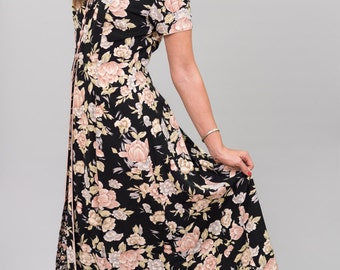 Vintage Black Rose Floral Print Maxi Dress (Size Small/Medium)