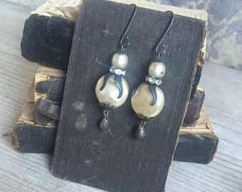Vintage Pearl Earrings, Boho Bride Large Coin Pearls Patina Silvered Beads Rhinestones