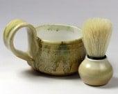 Shaving Mug for him - Handmade - Stoneware Pottery Lather Mug - Caramel Ochre - For Him