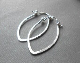Small Silver Hoop Earrings, Sterling Silver Marquise Hoops, Leaf Shaped Hoop Earrings
