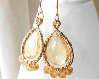 Wire Wrapped Citrine Drop Earrings, Gold Filled Gemstone Teardrop Dangle Earrings
