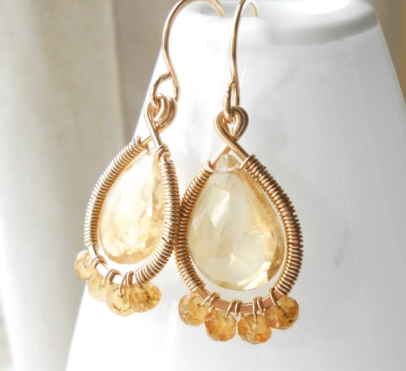 Gold Filled Wire Wrapped Citrine Drop Earrings