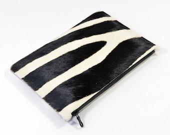 Coralie - Handmade Zebra Print Hair On Hide Leather Clutch Bag Zip Pouch Purse SS16
