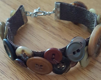Brown Upcycled Button Bracelet