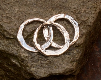 THREE Plain Rustic Links in Sterling Silver, L-446