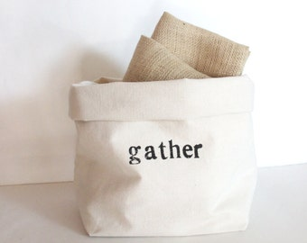 Gather - Hand Printed Canvas Storage Basket - Organization - Back to School - Dorm Accessory - Simple Black and White Design