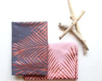 Eggplant and Blush Palm Tree Leaf Tea Towel Set of 2 - Boho Beach Decor - Beach Decor - Coastal Living - Palm Tree Print - Copper Ink