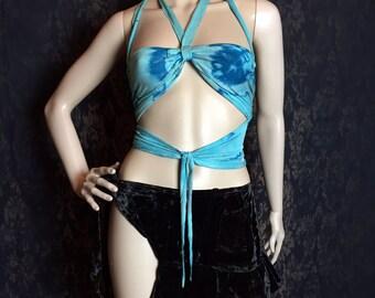 Bohemian Tank Top, Goddess Bra, tie dye blue cotton Halter, bandeau top, hippie halter, wrap top, Crude Things Summer Festivals Fashion,