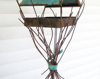 Sculptural Steel & Copper Bird Feeder No. 338 - Freestanding unique modern birdfeeder