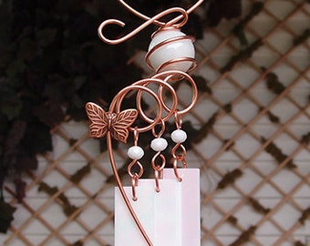 Butterfly Windchime Glass Wind Chimes Copper Garden Ornament Art Sculpture Stained Glass Metal White
