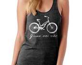 I LOVE my BIKE french script Girls Ladies Heathered Tank Top Shirt screenprint Alternative Apparel