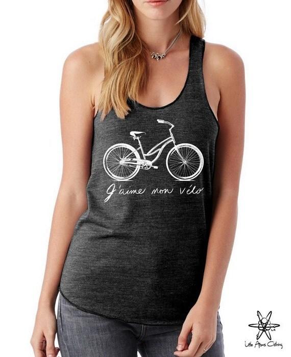 I LOVE my BIKE french script Girls Ladies Heathered Tank Top Shirt screenprint Alternative Apparel