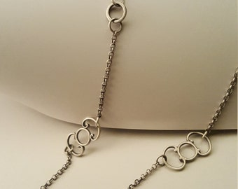Long Buckle Chain. Simple, bold, silver necklace.