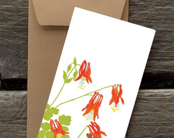 Columbine and Wilson's Warbler -- 8 blank flat cards and envelopes
