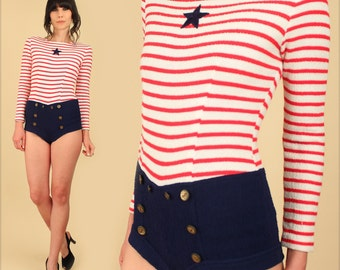 ViNtAgE 60's Nautical Sailor Playsuit RARE // Striped Romper Jumpsuit Bodysuit // Red White Navy Blue Star Anchor Military Shorts Shirt xs s