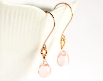 Rose gold earrings, pink glass earrings rose, pastel pink jewelry,  pink drop earrings, rose gold jewelry, pink gold earrings - Makou v2