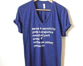 Jane Austen Novels/Book Titles - Pride and Prejudice - Persuasion - Emma - Sense and Sensibility - Unisex V-neck Tee. MADE TO ORDER