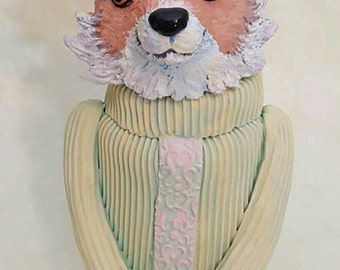 What the fox says, fox jar, ceramic fox one of a kind stash jar, foxy, fox urn, chartreuse turtleneck,  sly fox, what the fox. Sly as a fox