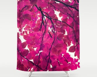 Magenta fabric shower curtain- nature-pink and white- leaves- trees-modern bathroom decor