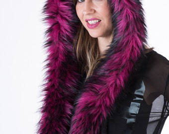 Magenta Faux Fur Hood Hoodie with Fleece