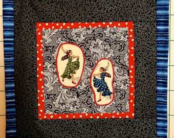 Flamenco Dancers Applique Pillow