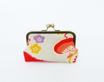 Clutch bag, multi colour floral vintage Japanese kimono fabric, evening purse