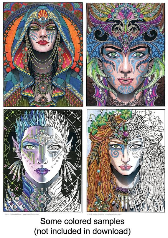 magical beauties book 1 digital download 24 fantasy coloring pages adult coloring book digital coloring pages printable coloring pages - Fantasy Coloring Book