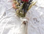 Montana Romance Lace Boutonniere of Dried French Lavender Globe Amaranth, Blue & Pink Larkspur Grooms Best ManGroomsmen Paula Jeans Garden