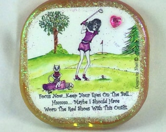 GOLF - Compact mirror, cat, whimsical funny sayings, Lulu, girlfriend gifts, bridesmaid gifts, humorous  illustration by sher