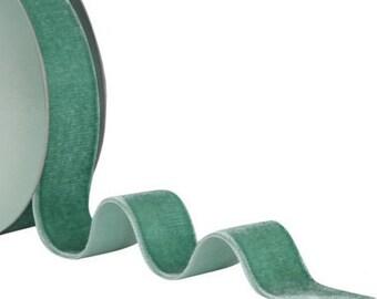 SALE - Morex Teal Velvet Ribbon, Beautiful Nylavour Ribbon, 11 Yard Roll,Washable,Finished Nylon Ribbon,Cardmaking, Floral Design