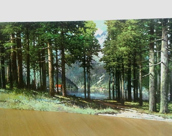 "Robert Wood Litho Lake Cabin, 24x14"" Print, NO Frame, Pine Grove Lake, Landscape Forest"