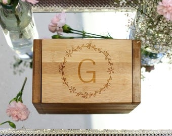 Custom Recipe Box & Dividers, Recipe Box Cards, Engraved Recipe Box, Mom Grandma Chef Foodie Housewarming Gift, Bamboo Wood --28535-RB01-001