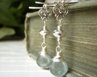 Moss Aquamarine Earrings Sterling Silver Dangle, Wirewrapped Light Teal Briolette, Seafoam Gemstone Natural Stone Jewelry