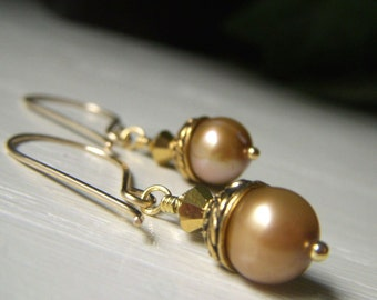 Golden Pearl Earrings, Real Pearl Earrings, Goldfilled Earwire, Genuine Freshwater Pearl Earrings, Round Gold Dangle