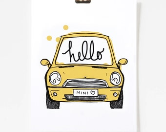 Hello Mini / Mini Cooper Art / Car Art / Art for Kids Room / 8x10 / Giclee Art Print / Yellow Art / Car Illustration / Happy Art