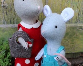Darla & Bean: mouse pattern, toy mouse, mouse plush, mouse softie, mouse doll, PDF mouse pattern, felt mouse