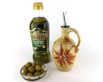 Olive Oil Bottle - 15 oz. -  Oil Dispenser / Oil Cruet - Creamy Yellow with Terracotta Sunburst
