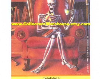 R.L. Stine's Goosebumps Bookplate Sticker Vintage 90's label Antioch Curly the Skeleton HTF