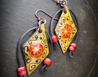 Enameled Charms, Enameled Earrings, South West, Aztec, Tribal, African Beads, Earthy, Organic, Rustic, Beaded Earring