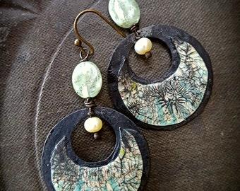 Copper Hoops, Crackle Art, Retro, Kyanite, Pearls, Funky, Copper Earrings, Earthy, Rustic, Beaded Earrings
