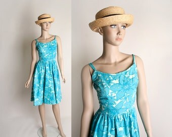Vintage 1950s Summer Dress - Rhinestone Aquamarine Floral Print Novelty Sundress - Small XS