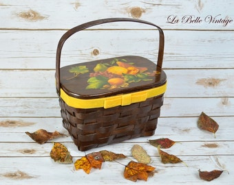 Vintage 1960s Wicker Basket Box Purse ~ Fruit Harvest Decoupage ~ Woven Wood Bag